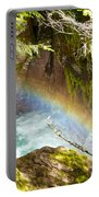 Rainbow In Avalanche Creek Canyon In Glacier National Park-montana Portable Battery Charger