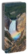 Rainbow On The Lower Falls Yellowstone National Park Portable Battery Charger