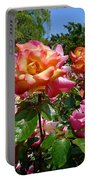 Rainbow Sorbet Roses Portable Battery Charger by Denise Mazzocco