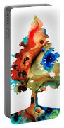 Rainbow Tree 2 - Colorful Abstract Tree Landscape Art Portable Battery Charger by Sharon Cummings