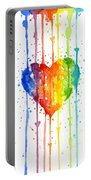 Rainbow Watercolor Heart Portable Battery Charger