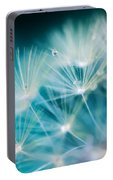 Raindrops On Dandelion Sea Blue Portable Battery Charger