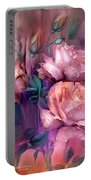 Raindrops On Peach Roses Portable Battery Charger