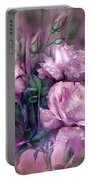 Raindrops On Pink Roses Portable Battery Charger