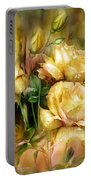 Raindrops On Yellow Roses Portable Battery Charger