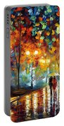 Rain's Rustle 2 - Palette Knife Oil Painting On Canvas By Leonid Afremov Portable Battery Charger