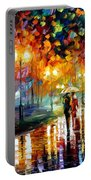Rain's Rustle - Palette Knife Oil Painting On Canvas By Leonid Afremov Portable Battery Charger