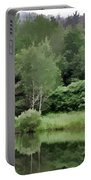 Rainy Day At The Pond Portable Battery Charger