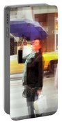Rainy Day In The City - Blue Pink And Polka Dots Portable Battery Charger