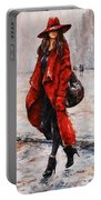 Rainy Day - Red And Black #2 Portable Battery Charger by Emerico Imre Toth
