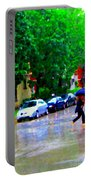 Rainy Days And Mondays Girl Running With The Blue Umbrella Montreal Art City Scenes Carole Spandau Portable Battery Charger