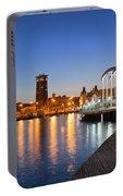 Rambla De Mar Promenade In Barcelona At Night Portable Battery Charger
