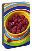 Raspberries In Yellow Bowl On Plate Portable Battery Charger