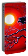 Raven In Ruby Red Portable Battery Charger