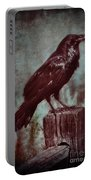 Raven Perched On A Post Portable Battery Charger