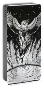 Raven Stealing Fire From The Sun - Woodcut Illustration For Corvidae Portable Battery Charger