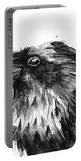 Raven Watercolor Portrait Portable Battery Charger