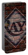 Rays Baseball Graffiti On Brick  Portable Battery Charger by Movie Poster Prints