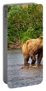 Ready To Pounce On A Salmon  In The Moraine River In Katmai National Preserve-ak Portable Battery Charger