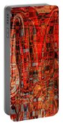 Red Abstract Panel Portable Battery Charger by Carol Groenen