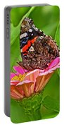 Red Admiral Butterfly And Zinnia Flower Portable Battery Charger