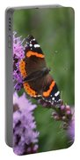 Red Admiral Butterfly On A Blazing Star Portable Battery Charger