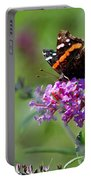 Red Admiral Butterfly On Butterfly Bush Portable Battery Charger