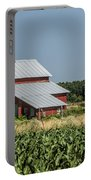Red Amish Barn And Corn Fields Portable Battery Charger