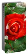 Red And Cream Rose Portable Battery Charger
