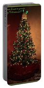 Red And Gold Christmas Tree With Caption Portable Battery Charger