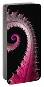 Red And Pink Fractal Spiral Portable Battery Charger