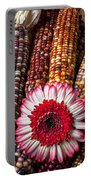 Red And White Mum With Indian Corn Portable Battery Charger