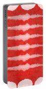Red And White Shibori Design Portable Battery Charger