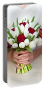 Red And White Tulip And Rose Wedding Bouquets Portable Battery Charger