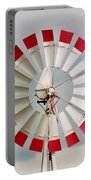 Red And White Windmill Portable Battery Charger