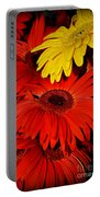 Red And Yellow Glory - The Flowers Of Summer - Gerbera Daisies Portable Battery Charger