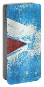 Red Arrow Painted On Blue Wall Portable Battery Charger