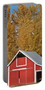 Red Barn And Fall Colors Portable Battery Charger