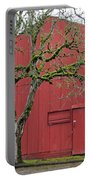 Red Barn And Green Tree In Dundee Hills Oregon Wine Country Portable Battery Charger