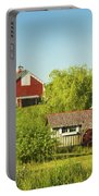 Red Barn And Water Mill On Farm In Maine Portable Battery Charger