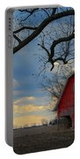 Red Barn At Sunset Portable Battery Charger