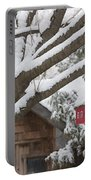 Red Barn Birdhouse On Tree In Winter Portable Battery Charger