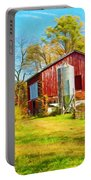 Red Barn In Autumn Portable Battery Charger