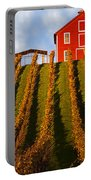 Red Barn In Autumn Vineyards Portable Battery Charger
