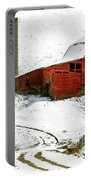 Red Barn In Snow Portable Battery Charger