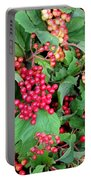 Red Berries And Green Leaves Portable Battery Charger