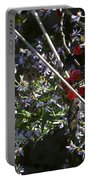Red Berries And Violet Flowers Portable Battery Charger