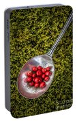 Red Berries Silver Spoon Moss Portable Battery Charger
