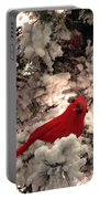 Red Bird In A Snow Covered Tree Portable Battery Charger
