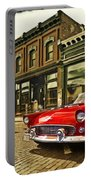 Red Bird On Main Street Portable Battery Charger